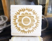 Retro Flower, Wooden Mounted Rubber Stamping Block DIY for Showers, Invitations, Greeting Cards, and Scrapbooking - B00061