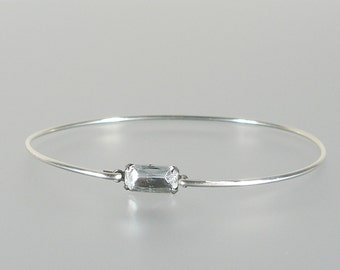 Crystal Vintage Glass Silver Bangle Bracelet, Silver Bangle Bracelet, Silver Bracelet, Bridesmaid Gift Ideas (G106S,)