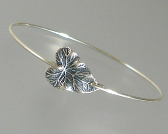 Silver Heart Leaf Bangle Bracelet, Silver Bangle Bracelet, Silver Botanical Bracelet, Bridesmaid Gift (226S,)