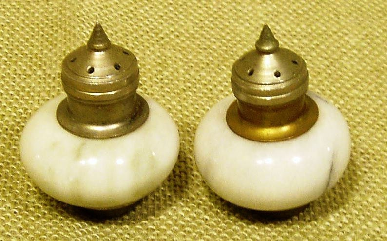Vintage Marble Salt And Pepper Shakers With Pointed Brass Tops