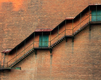 Upstairs Downstairs-Stairs On Building Photo, 8x12 Print