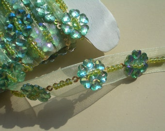 Beaded Trim with Emerald Beaded Flowers on pale green Ribbon.