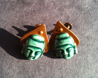 Copper and ceramic earrings