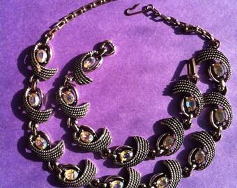 Vintage bracelet and necklace aurora borealis stones