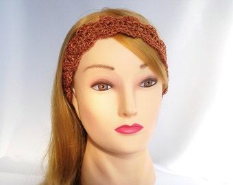 ON SALE Brown crochet headband Womens head band Bohemian Ladies headband Cotton tie back headband Hippie headband  Summer hairband
