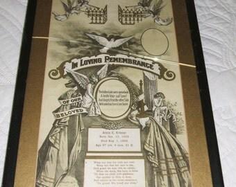 Framed Memorial Poster