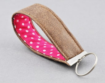 Brown Leather and Pink Polka Dot Keychain Keyfob