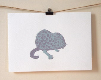 Mouse Print - Screen Printed Card