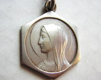 Virgin Mary, Our Lady of Lourdes - French old religious medal