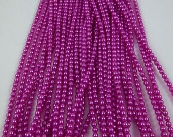 3mm Czech Glass Pearl - 24276 Hot Pink x 300pcs