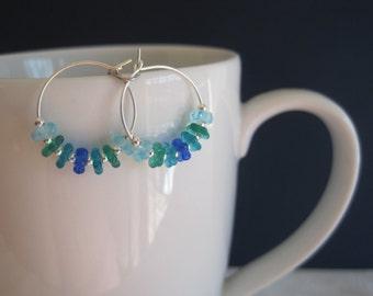 Sterling Silver Hoop Earrings with Blue/Green Flower Beads