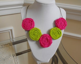 Fabric Necklace, Fabric Roses Necklace, Pink Fabric Necklace, Green Fabric Rosett Necklace, Statement Necklace, Jessie Kate Designs