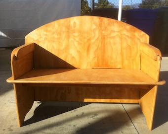 Slot together plywood Love Seat for camping or backyard gatherings