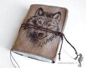 Notebook with a wolf - special suede journal for a gift - CapallMara