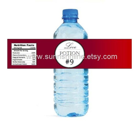 Love Potion Drink Labels: Love Potion No. 9 Water Bottle Labels Party Favor By