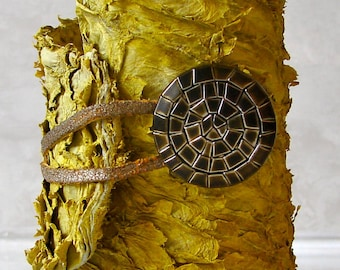 Sunny Yellow Fish Skin Leather Cuff Bracelet - Antique Gold Button Closure