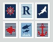 Nautical Wall Art Prints for Boy or Baby, 3 Piece Set (Choose Any 3 Prints) -11x14 prints, Children and Nursery Decor, Modern Kid