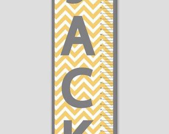 Personalized Orange and Grey Chevron Growth Chart-Vinyl Print, Growth Charts for Babies, Girl or Boy, Nursery and Children Decor