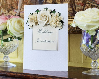Wedding Invitation Vintage Rose Perfection Handmade