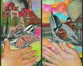Simple Birds - ACEO Watercolor/Collage Print Set