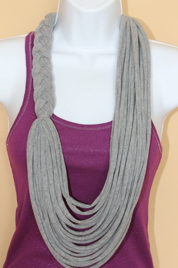 Items similar to Gray Braided Floral Necklace Scarf, T ...