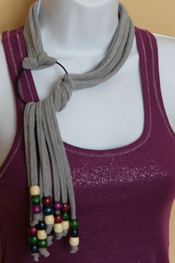 Items similar to Beaded T shirt Necklace Scarf Gray on Etsy