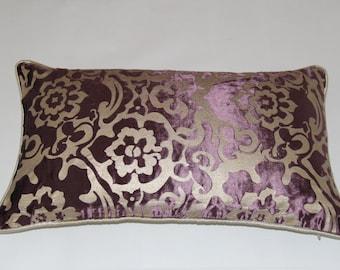 12 x 20 Inches Purple/ Silver  Floral Decor Pillows