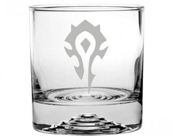 World of Warcraft Horde Etched Rocks Glass Personalized WoW
