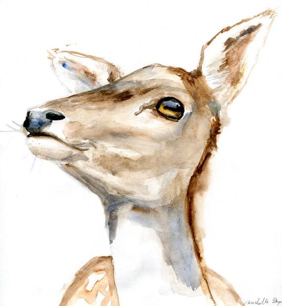 Original watercolor painting of a deer. Animal painting. Deer Zen drawing on paper by Michelle Dujardin