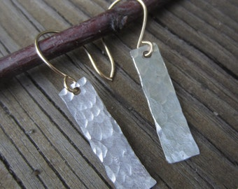Hammered Silver Earrings, Medium Long Silver Earrings, Hammered Jewelry, Gold Earwires