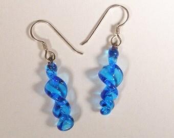 Aquamarine Blue Twist Flameworked Glass Earrings, 25% off!
