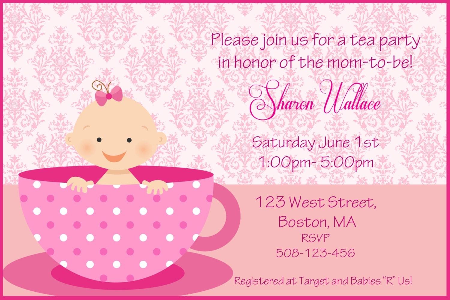 Tea Party Baby Shower Invitation Girl and Boy version – Baby Shower Tea Party Invitation