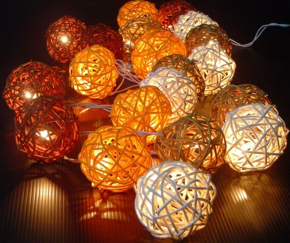 Rattan Cane Wood Battery Operated Fairy Lights Autumn Colour Shades