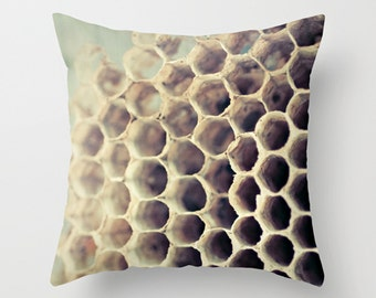 Decorative Throw Pillow Cover Vintage Decor Bee Hive Pillow Decoration 16 x 16 - Hive Pillow