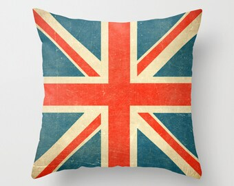 Union Jack Pillow Cover, flag plush pillow, vintage style throw pillow, English pillow