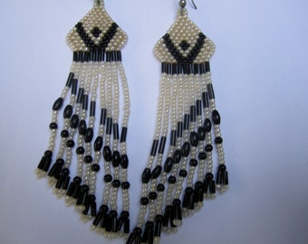 Distinctive Pearly White and Black Beaded Earrings