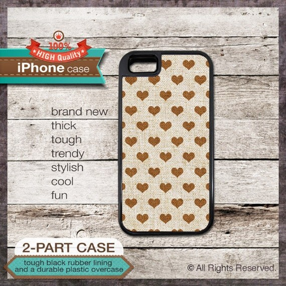 Brown Hearts pattern on Linen - iPhone 6, 6+, 5 5S, 5C, 4 4S, Samsung Galaxy S3, S4