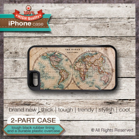 Vintage World Map 1 - iPhone 6, 6+, 5 5S, 5C, 4 4S, Samsung Galaxy S3, S4