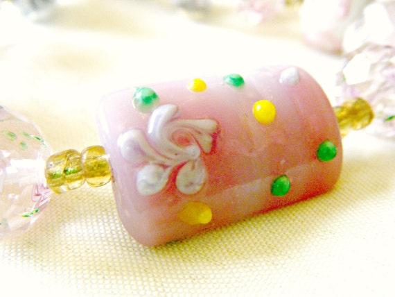 Shades of Pink Summer Glass Lampwork Bracelet