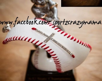 Baseball Cuff Bracelet with rhinestone sideways cross