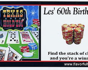 Texas Holdem Poker party favors scratch off tickets-set of 10