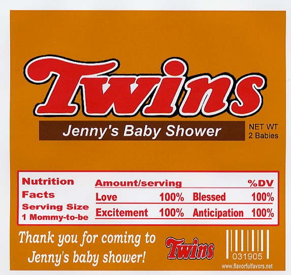 twins baby shower party favors candy wrappers set of 10