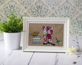 Sprint Wellingtons Large original framed, mixed media textile art