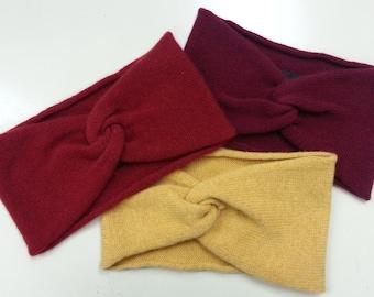 Pure Cashmere Turban/Headband (Wine Red, Red or Mustard) Statement Hairband. Haute Hair Accessory