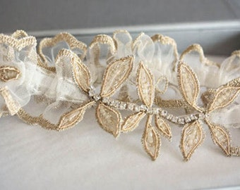 Gold leaf edding garter set-   Gold Leaf v2 (Made to order)