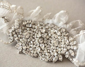 Heirloom Bridal Garter Set   - Hearts  (Made to Order)