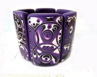 Purple bracelet - large bracelet -large bead bracelet - space bracelet