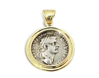 "Ancient coin jewelry,""Roman silver denarius"", set in gold pendant.Made in and shipped from the Holyland,Jerusalem."