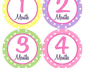 Baby Month Stickers Monthly Milestone Stickers Girl Pink Green Purple Yellow Monthly Bodysuit Stickers Baby Shower Gift Photo Prop -Becky