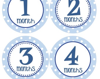 Baby Month Stickers Monthly Milestone Stickers Boy Navy Blue Monthly Stickers Milestone Sticker Baby Shower Gift Photo Prop - Channing